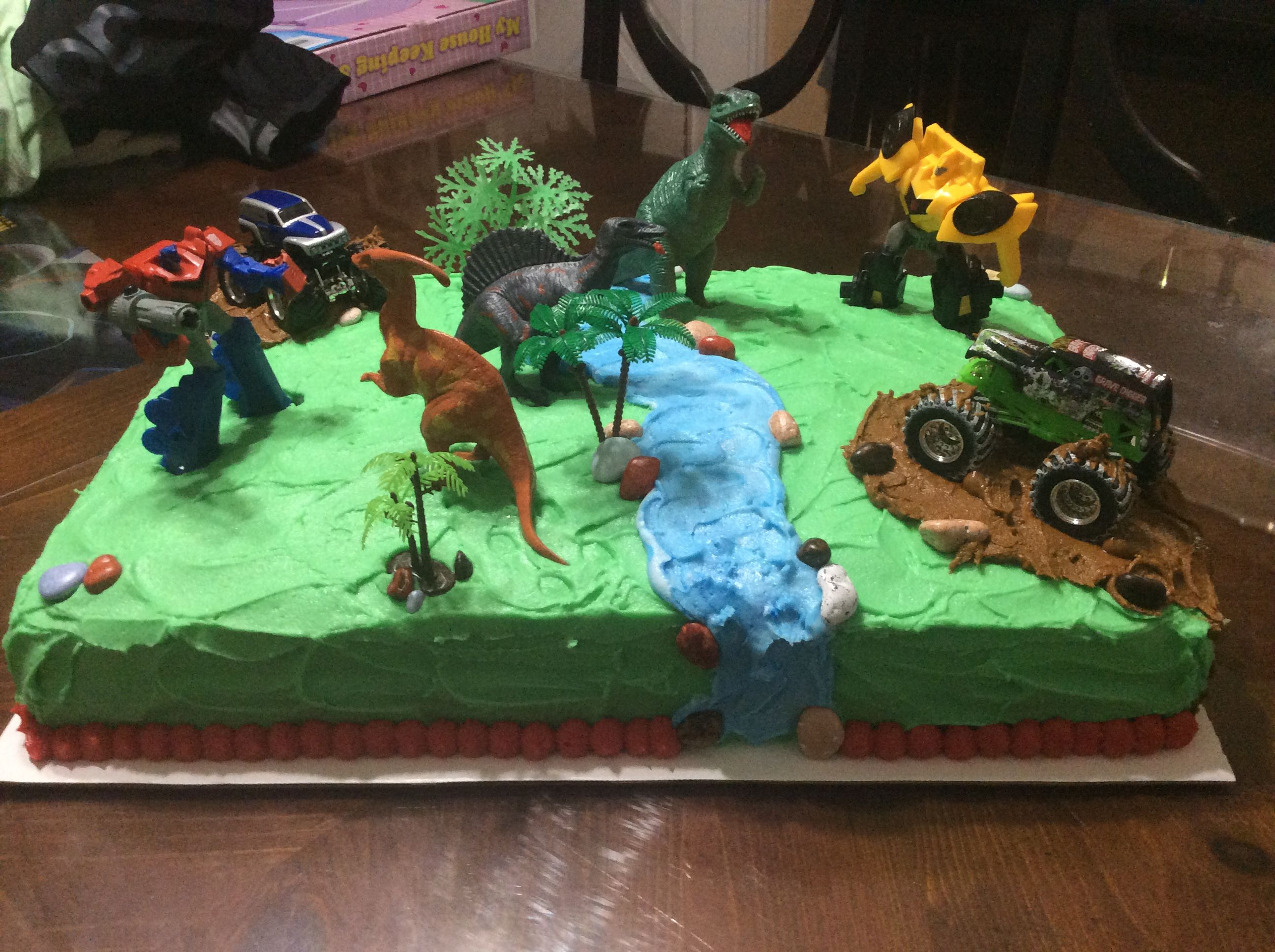 Wanted Transformers Dinosaurs And Monster Truck Dinosaur Birthday Cakes Monster Truck Birthday Cake Truck Birthday Cakes