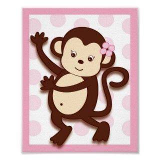 Girl nursery clip art girls fabric baby girl monkey for Nursery monkey fabric