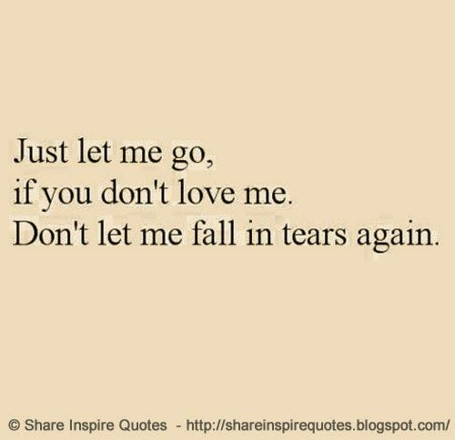 Just Let Me Go If You Dont Love Me Dont Let Me Fall In Tears