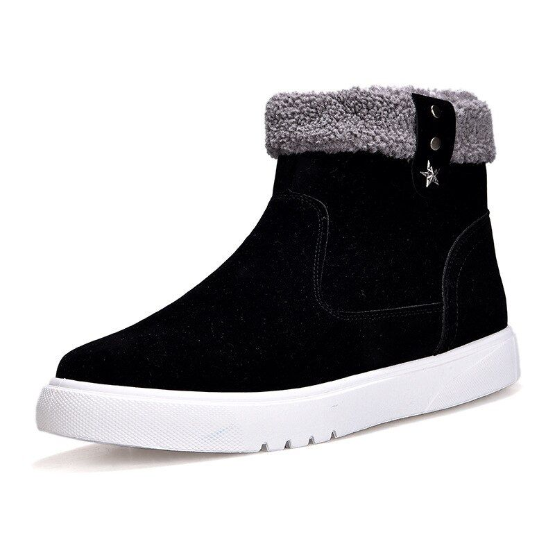 Photo of Snow Boots Men's Casual Shoes Winter Non-slip Flats Warm Plush Male Sneakers Trend High Top Man Cotton Shoes