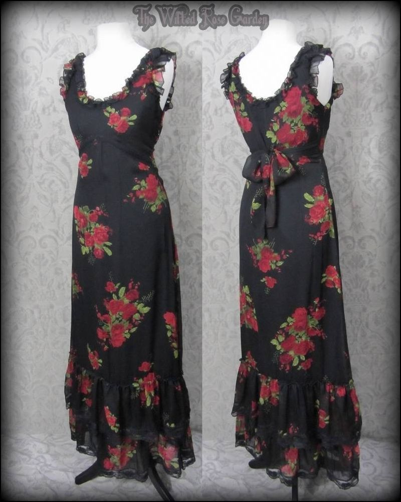 Romantic goth blood red rose black chiffon lace maxi dress vintage