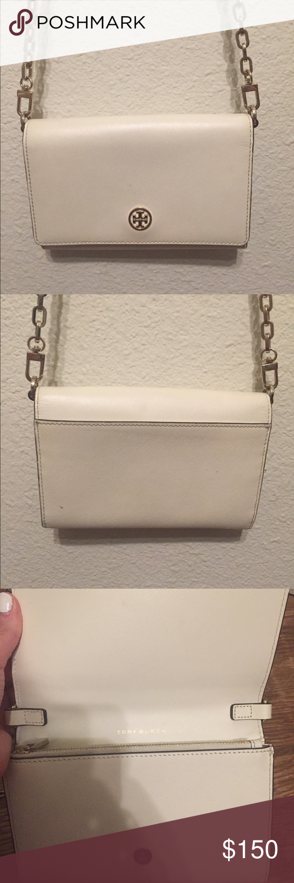 Tory burch wallet chain purse White Tory burch wallet chain cross body purse gently used Tory Burch Bags Crossbody Bags