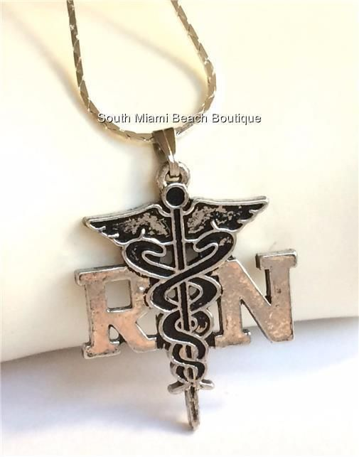 Details about silver plated rn caduceus necklace nurse nursing details about silver plated rn caduceus necklace nurse nursing graduation gift 18 inch usa aloadofball Gallery