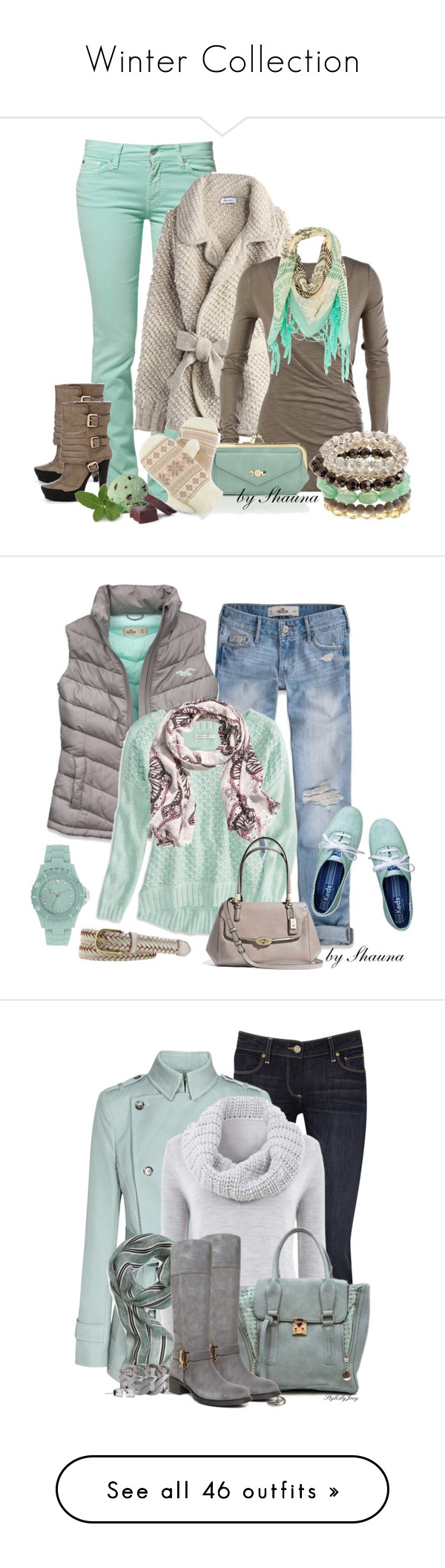 """""""Winter Collection"""" by arjozwik1989 on Polyvore featuring 7 For All Mankind, Desigual, New Look, Jean-Michel Cazabat, Accessorize, Isotoner, Hollister Co., American Eagle Outfitters, H&M and Coach"""