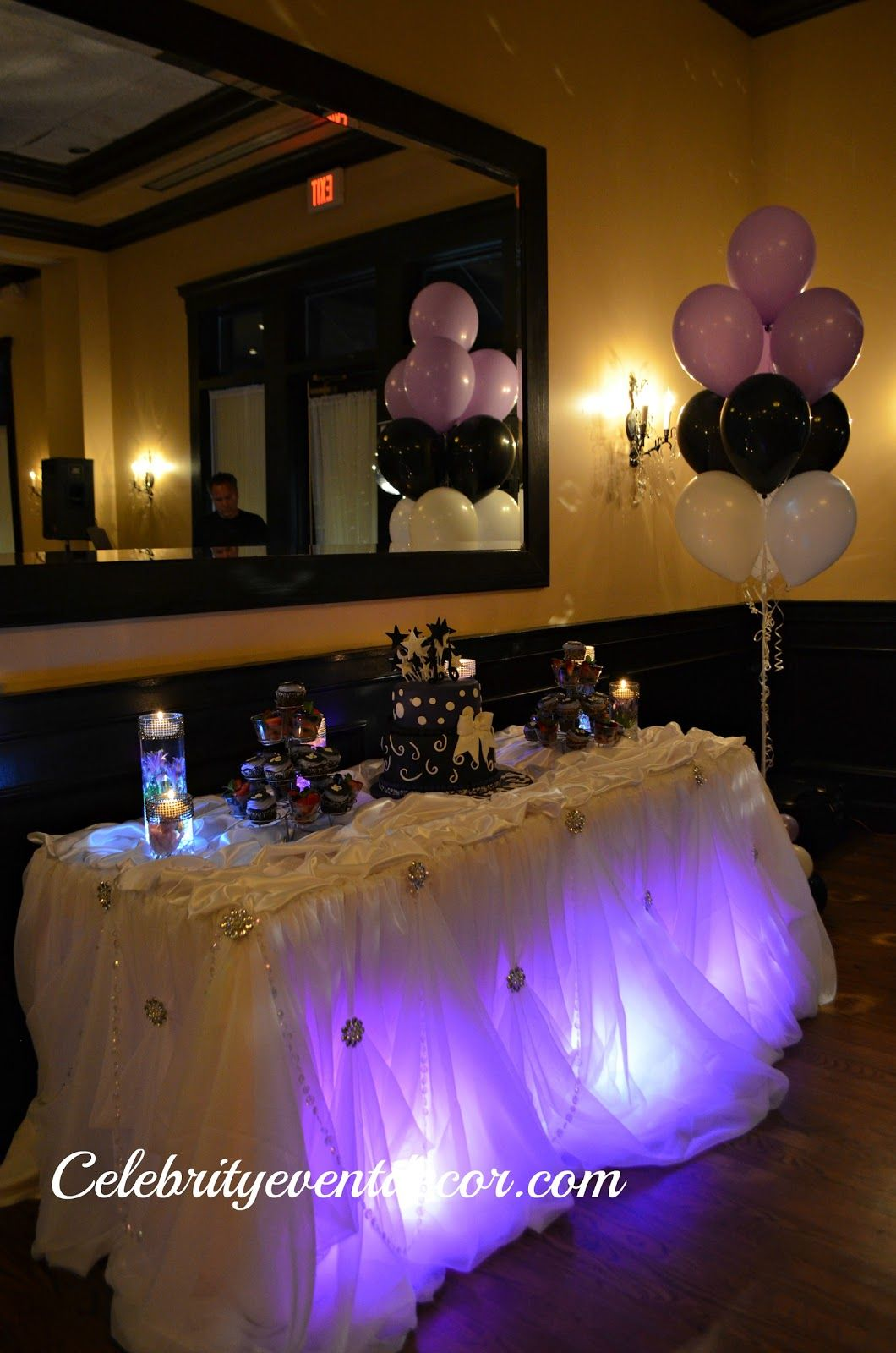 Sweet 16 Balloons Lights Cake Table Decor Cinderella Skirt Fresh Flowers Centerpieces Entran Sweet 16 Decorations Sweet 16 Birthday Party Sweet 16 Parties