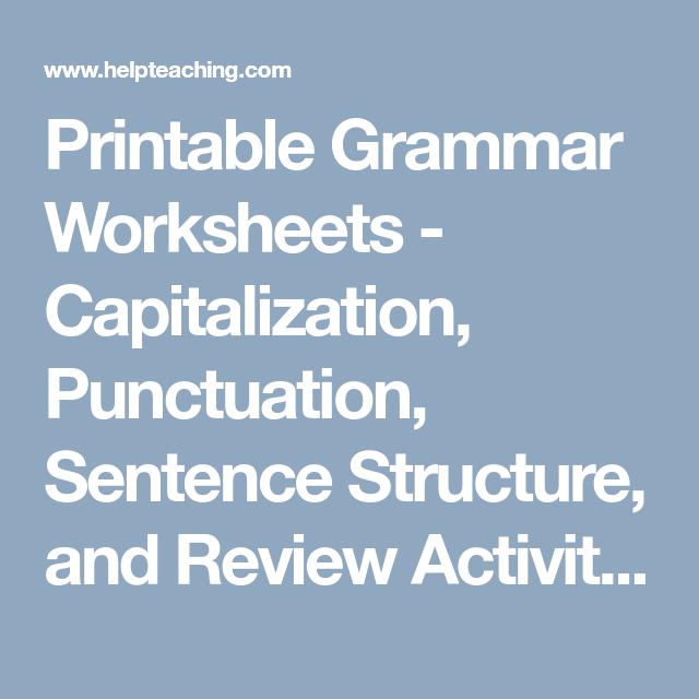 Printable Grammar Worksheets - Capitalization, Punctuation, Sentence ...