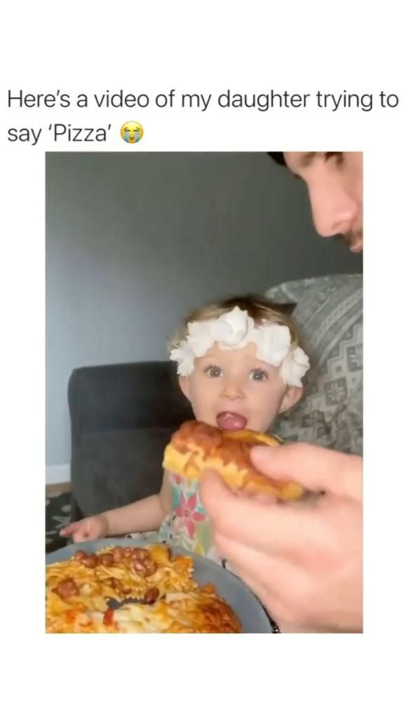 Cute Baby Girl Trying to Say Pizza