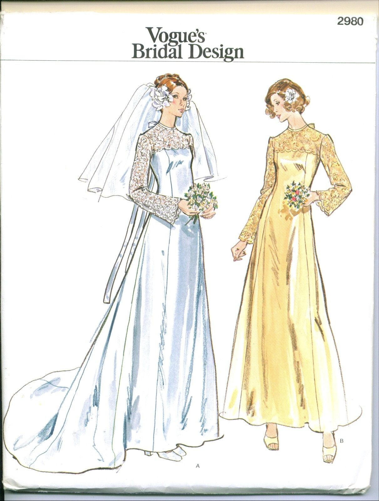 Vintage 1970s vogue 2980 bridal wedding gown sewing patterns vintage dress patterns vintage 1970s vogue 2980 bridal wedding gown ombrellifo Gallery