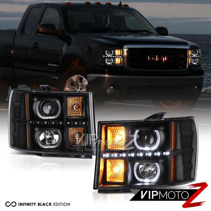 2007-2013 GMC Sierra 1500 2500HD 3500HD Black Angel Eye LED DRL Headlights Lamps #VIPMOTOZ