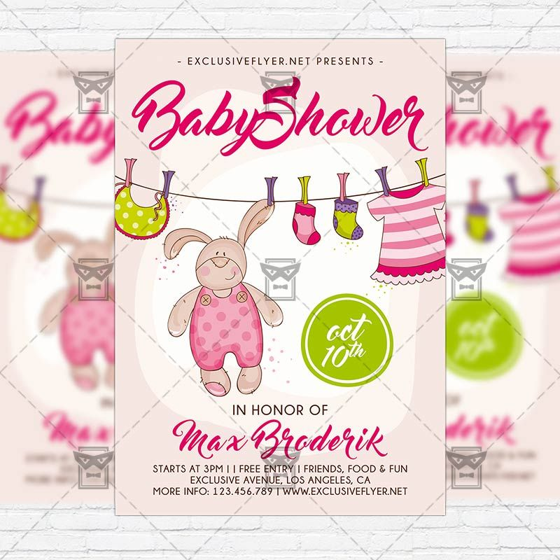 Baby Shower Vol5 - Premium Flyer Template + Instagram Size Flyer - baby shower flyer templates free