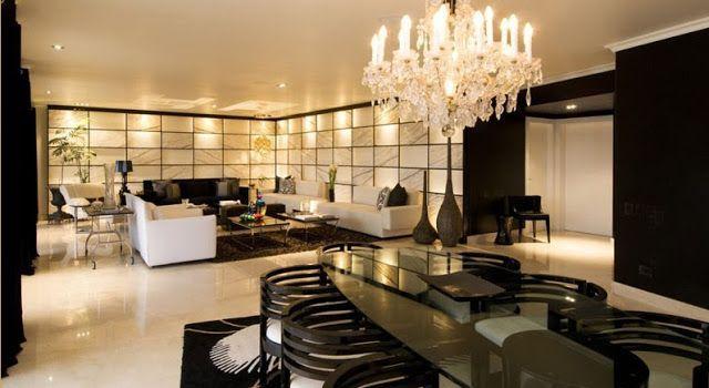 Sala y comedor de lujo en blanco y negro por karim chaman for Decoracion de interiores salas y comedor