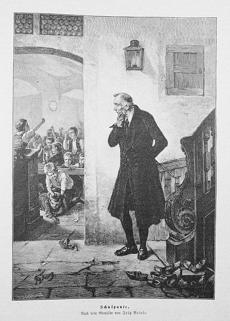 """""""School break"""", 1895. Fritz Beinke (1842–1906, German)"""