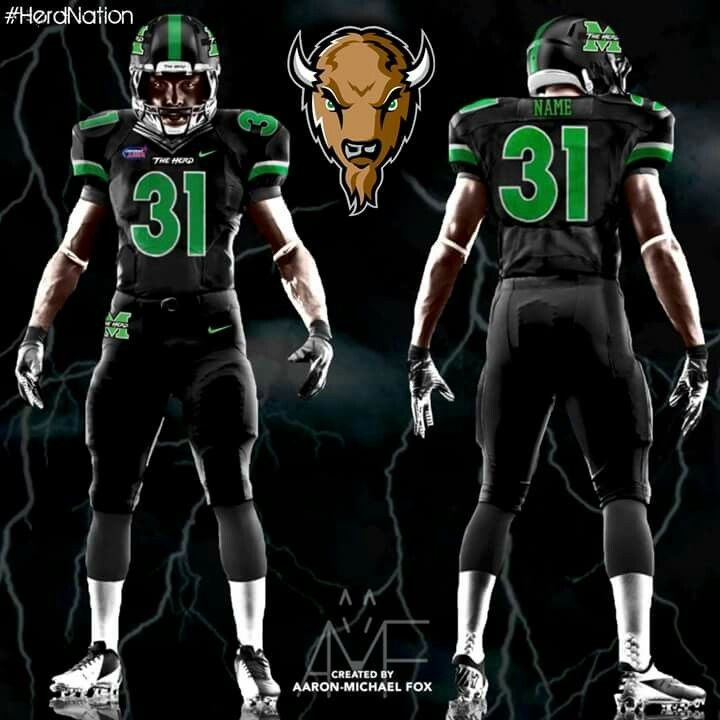 Herd Black Out Uniform Marshall Thundering Herd Football Marshall Football Marshall University Football