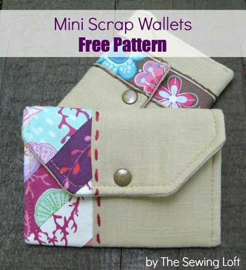 Mini Scrap Wallets - Free Sewing Pattern | Sewing patterns, Scrap ...
