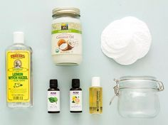Make your own Facewipes: Materials:  – 1 cup hot water  – 2 tablespoons coconut oil  – 2 tablespoons face wash or cleansing oil  – 1 teaspoon witch hazel  – 5 drops tea tree + grapefruit essential oils  Tools:  – resealable mason jar  – measuring cup  – measuring spoons  – face pad cotton rounds