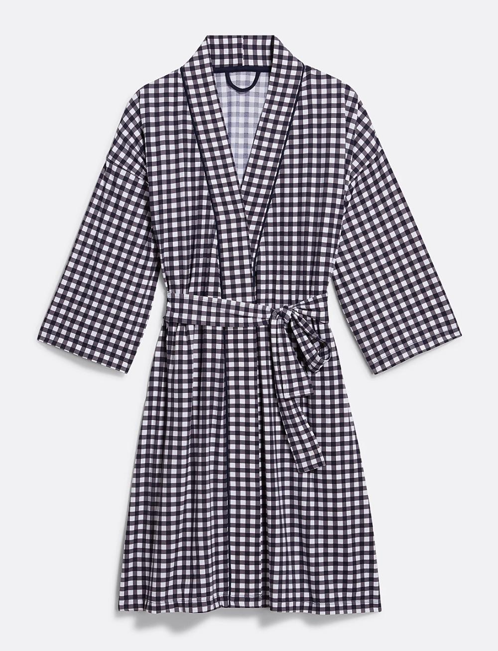 Gingham Robe In 2020 Gingham Robe Dresses For Work