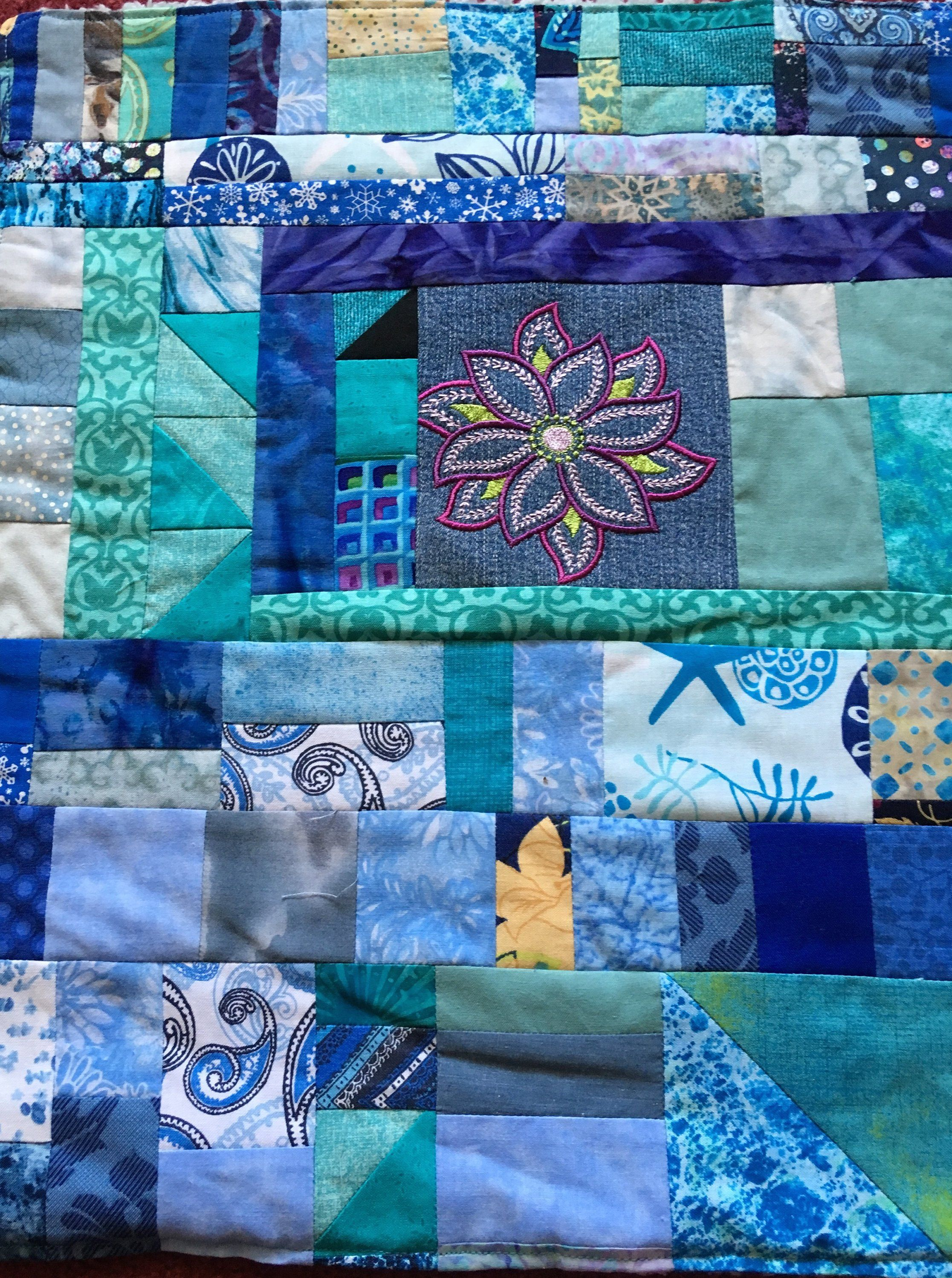 Blue Embroidered American Girl Doll Quilt With Plush