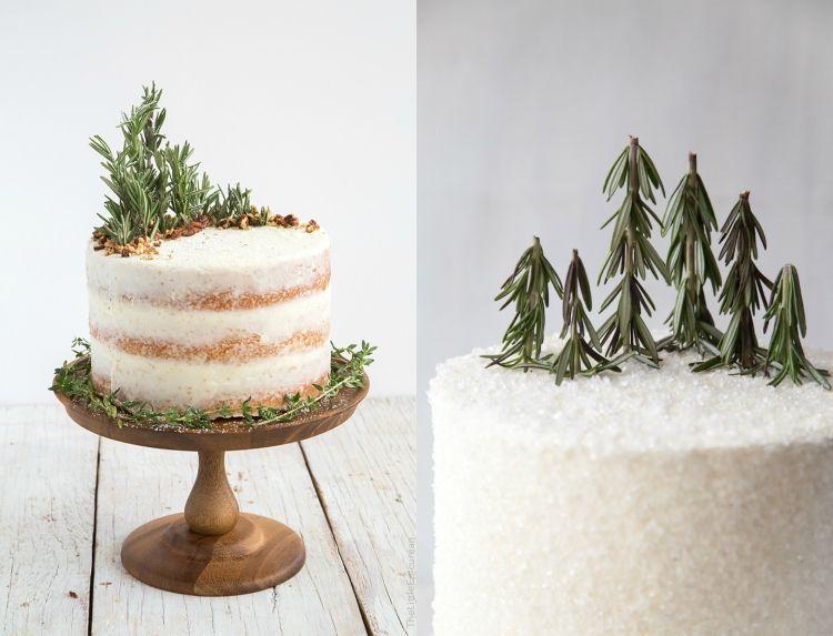 kuchen weihnachten dekorieren rosmarin natürlich minimalistisch ...