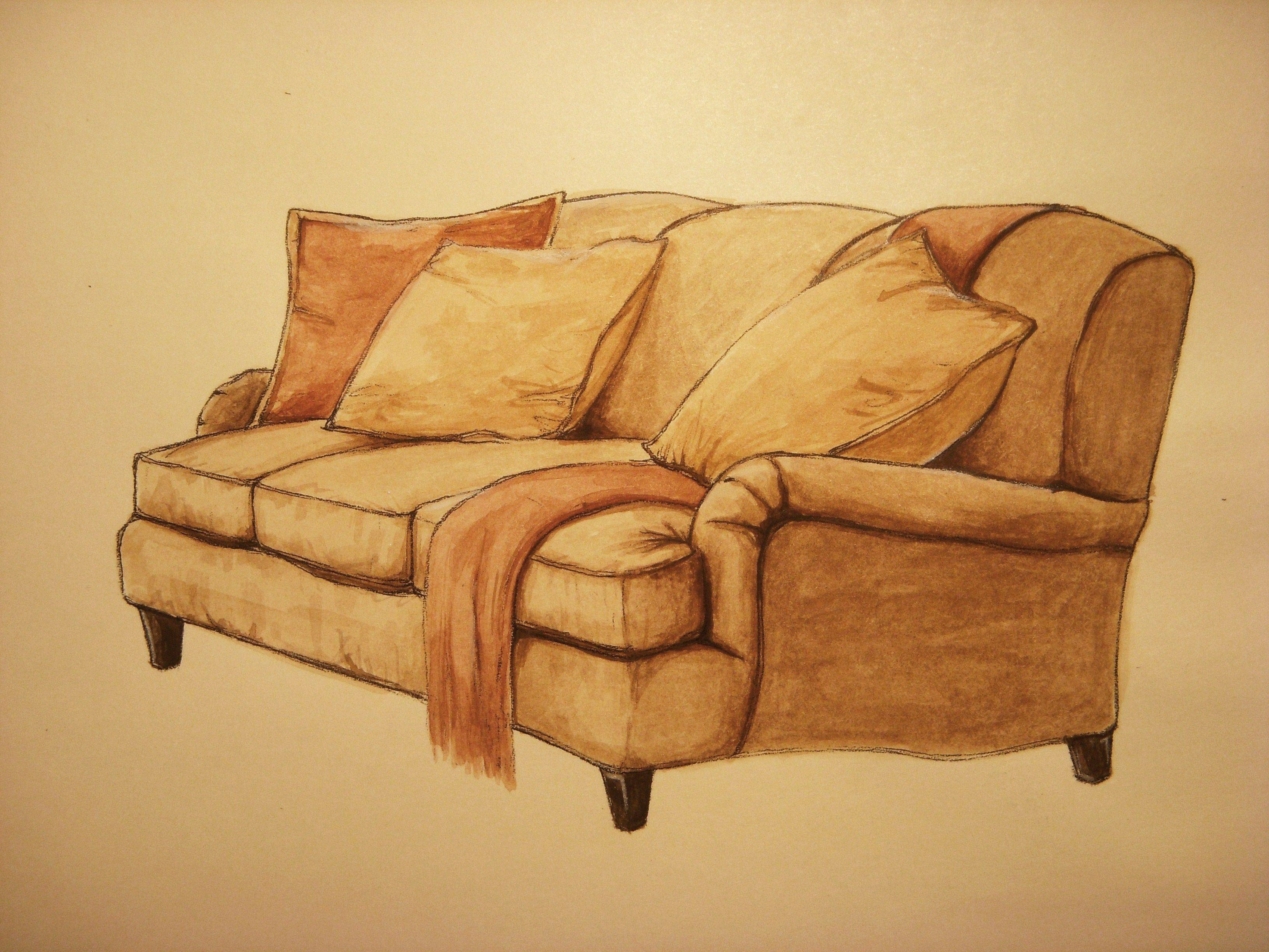 Sofa gouache hae lee ko hand rendering interiors for Sofa design sketch