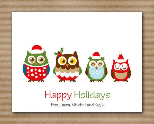 Owl Family Christmas Card Note Cards by PaperHouseDesigns on Etsy