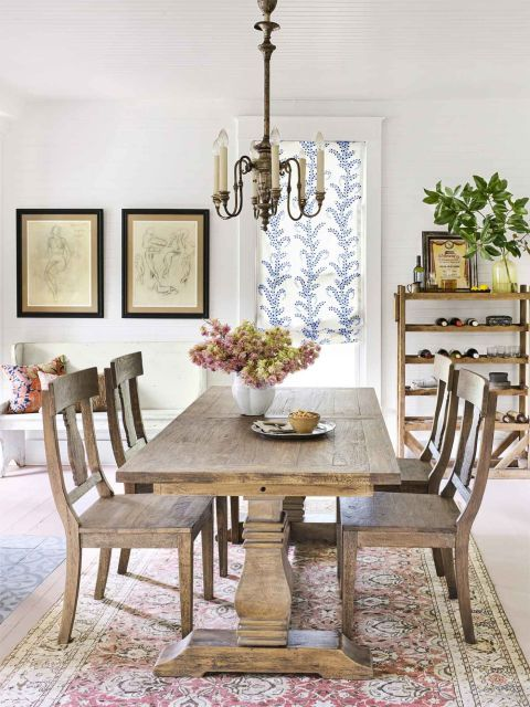 Cozy Atmosphere The Open Dining Area Feels Homier Thanks To A Large Rustic Dining Table And Chairs Dining Room Small Farmhouse Dining Room Dining Room Decor