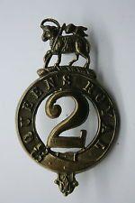 BRITISH PRE 1881 GLENGARRY BADGE 2ND QUEEN'S REGIMENT FOOT EXCELLENT COPY