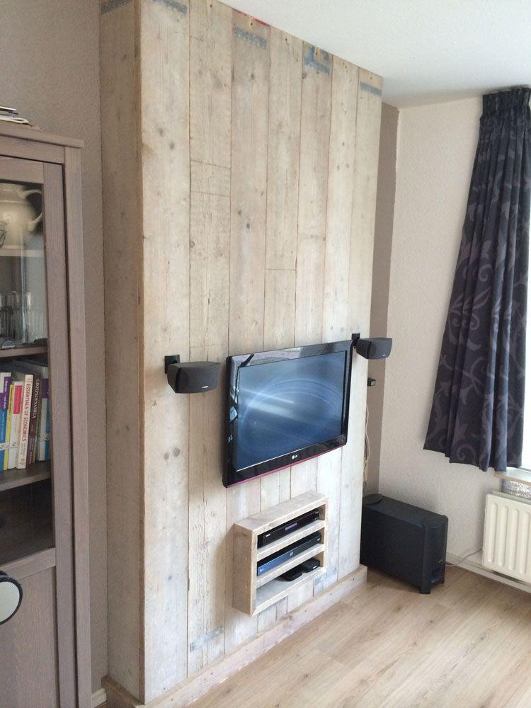 tv meubel steigerhout hoog 3 tv wand pinterest wand