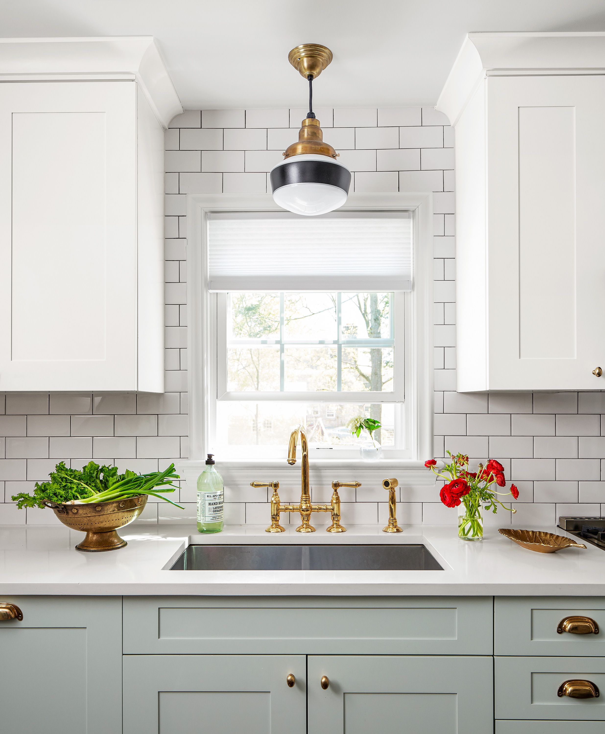 A Brass Faucet And Cabinet Hardware Offer A Dramatic Contrast To The Neutral Surfaces In The Kitch Neutral Kitchen Designs Kitchen Remodel Kitchen Inspirations