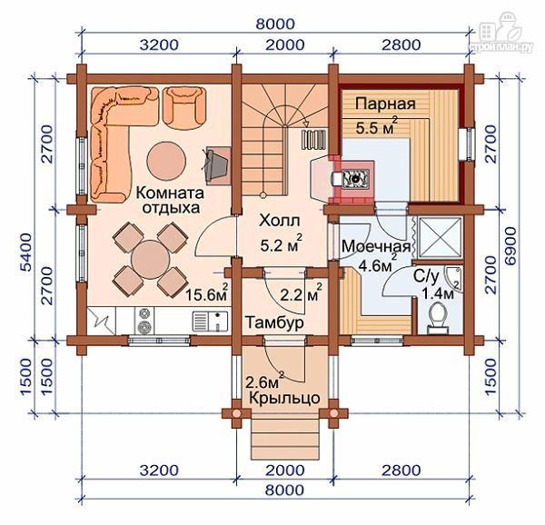 Фото 2: проект дом-баня с двумя спальнями 5.6х8.2 м | Дом ...