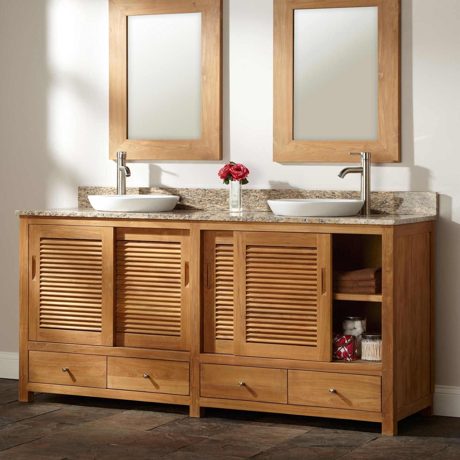 72 arrey teak double vanity for semi recessed sinks kids bathroom rh pinterest com