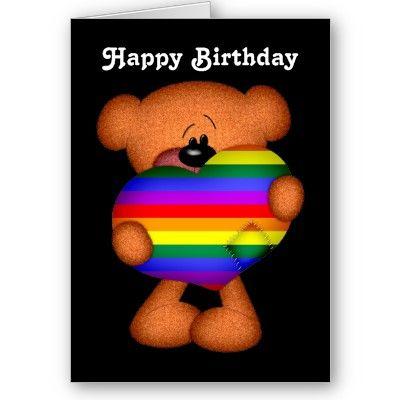 Pride Heart Teddy Bear Happy Birthday Card Zazzle Com With