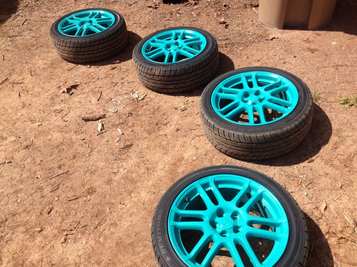 my intense teal plastidip rims my very first project and im super happy with