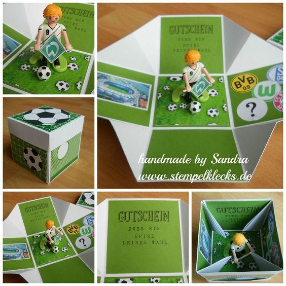 Fußball Explosionsbox Gutschein Basteln Fussball Fußball