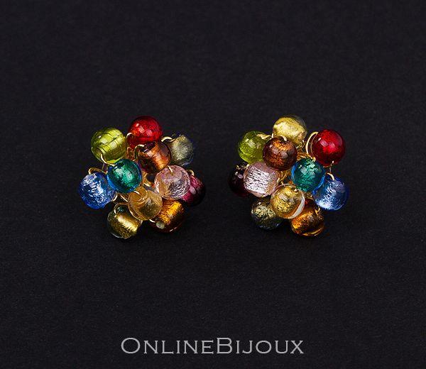 Cercei handmade, CLIPS, placati cu aur de 24 k. Pietre: sticla Murano. Culori: multicolor.