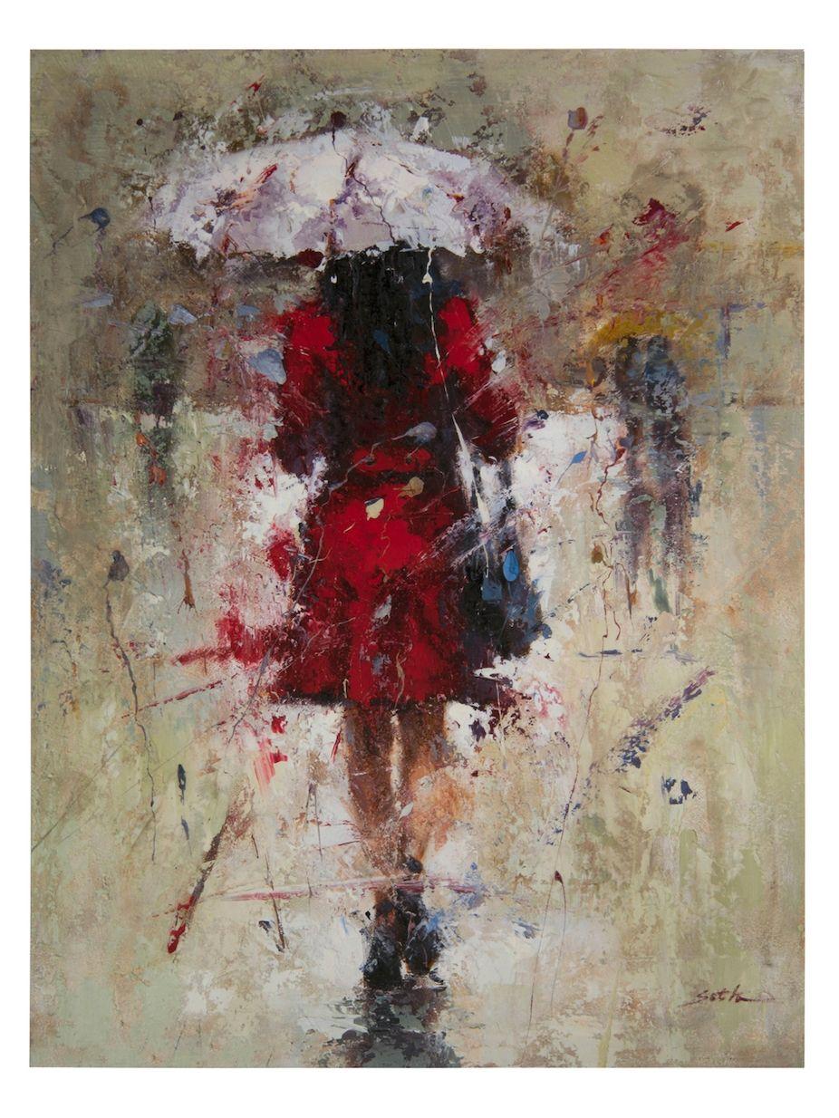 John Richard Seth's Red Dress in the Rain (Canvas) Wall