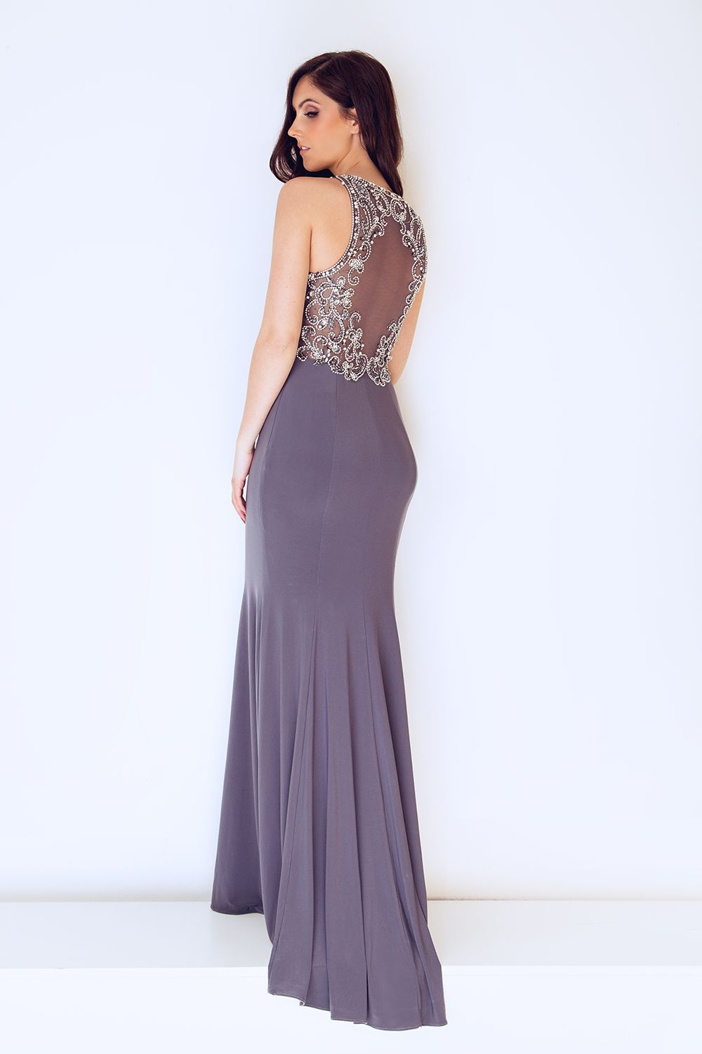 Grey pewter back detailed long evening dress with trail for any ...