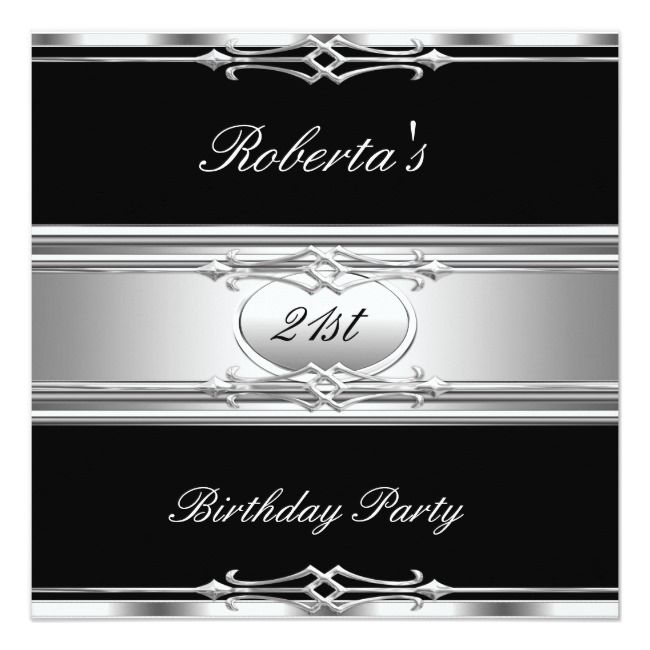 Elegant 21st Birthday Party Black Silver 21 Invitation Zazzle Com