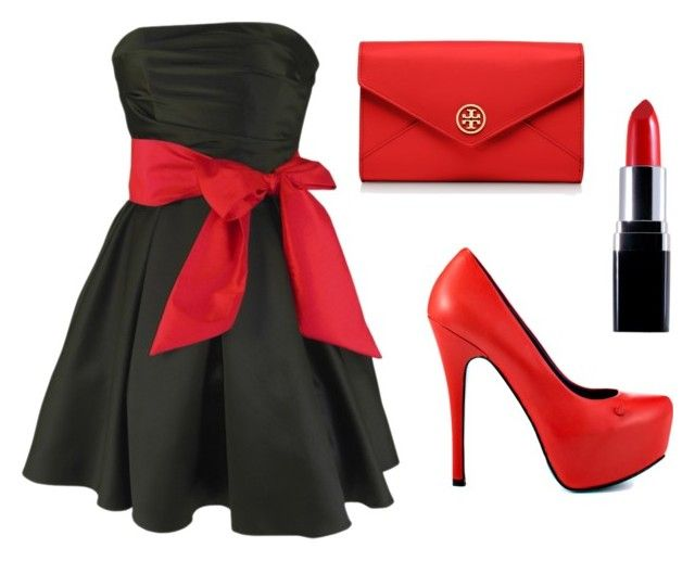 """""""Black Dress Red Bow"""" by coley0622 ❤ liked on Polyvore featuring TaylorSays and Tory Burch"""