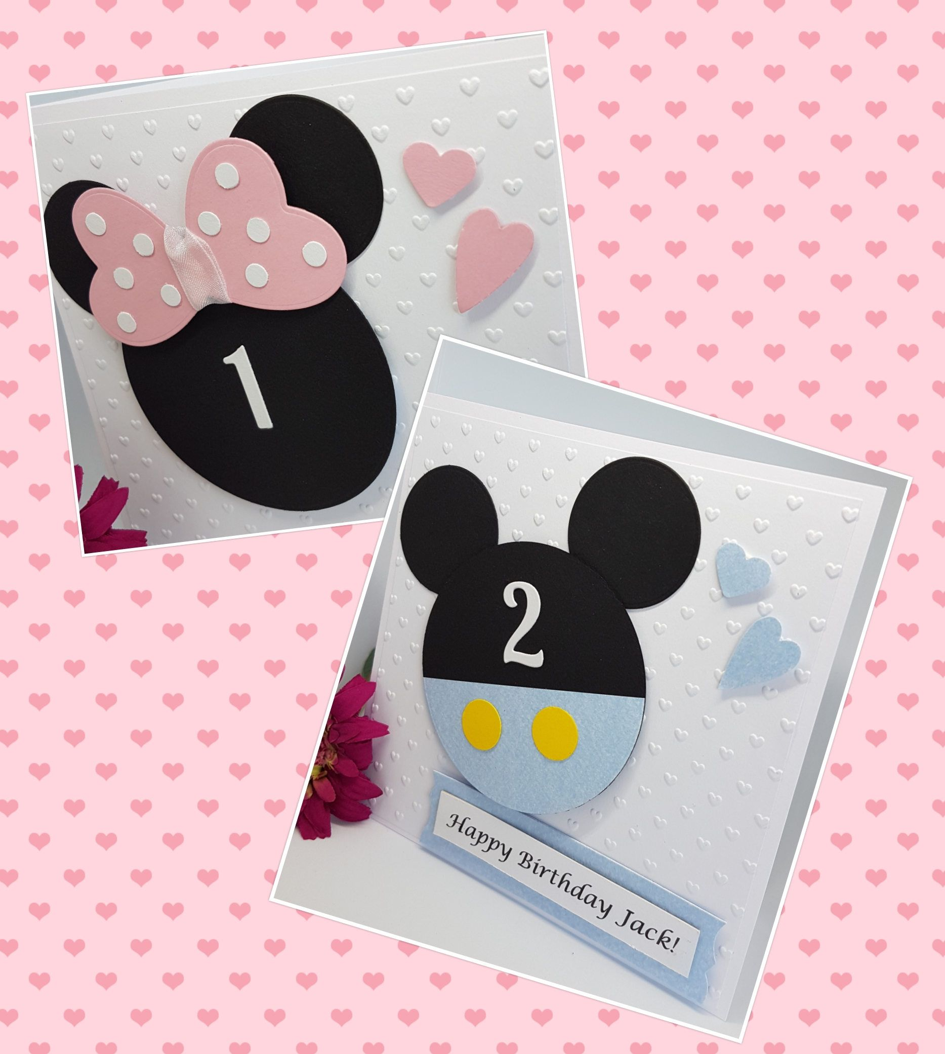 Personalised Baby Mickey Minnie Character Birthday Card Handmade