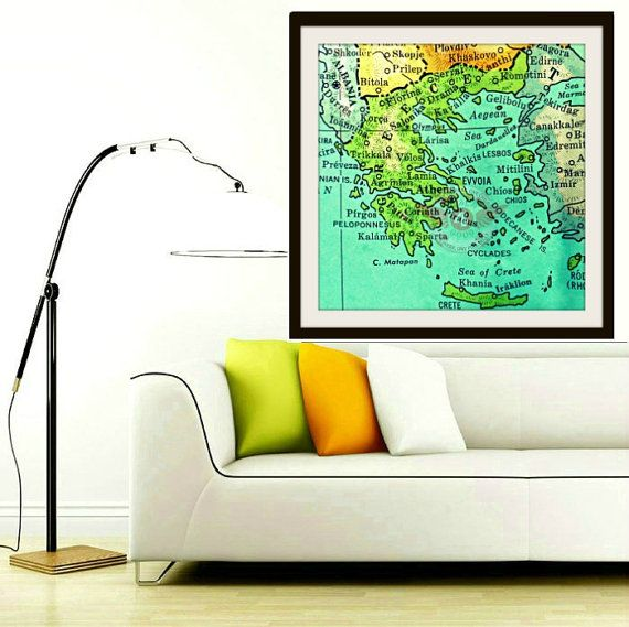 GREECE map art print photograph Athens Crete Isle cities map decor print 12x12 20x20 square color wall hanging photo vintage wedding gift