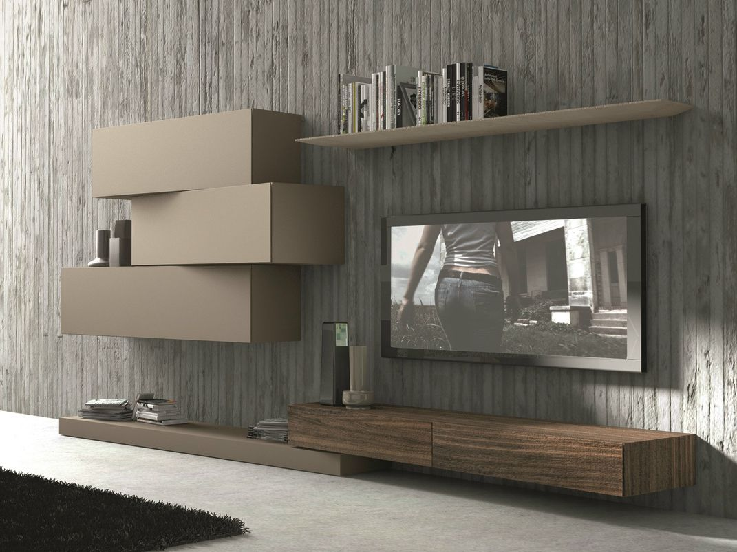 Sectional wall mounted tv wall system inclinart 263 by for Mobili living design