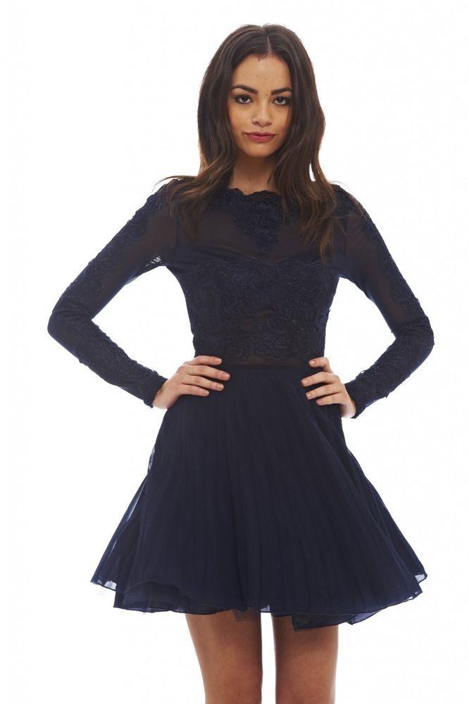 Ax Paris Womens Lace Detail Pleated Skater Dress Long Sleeve Mini Navy Blue 66ce8b9b10