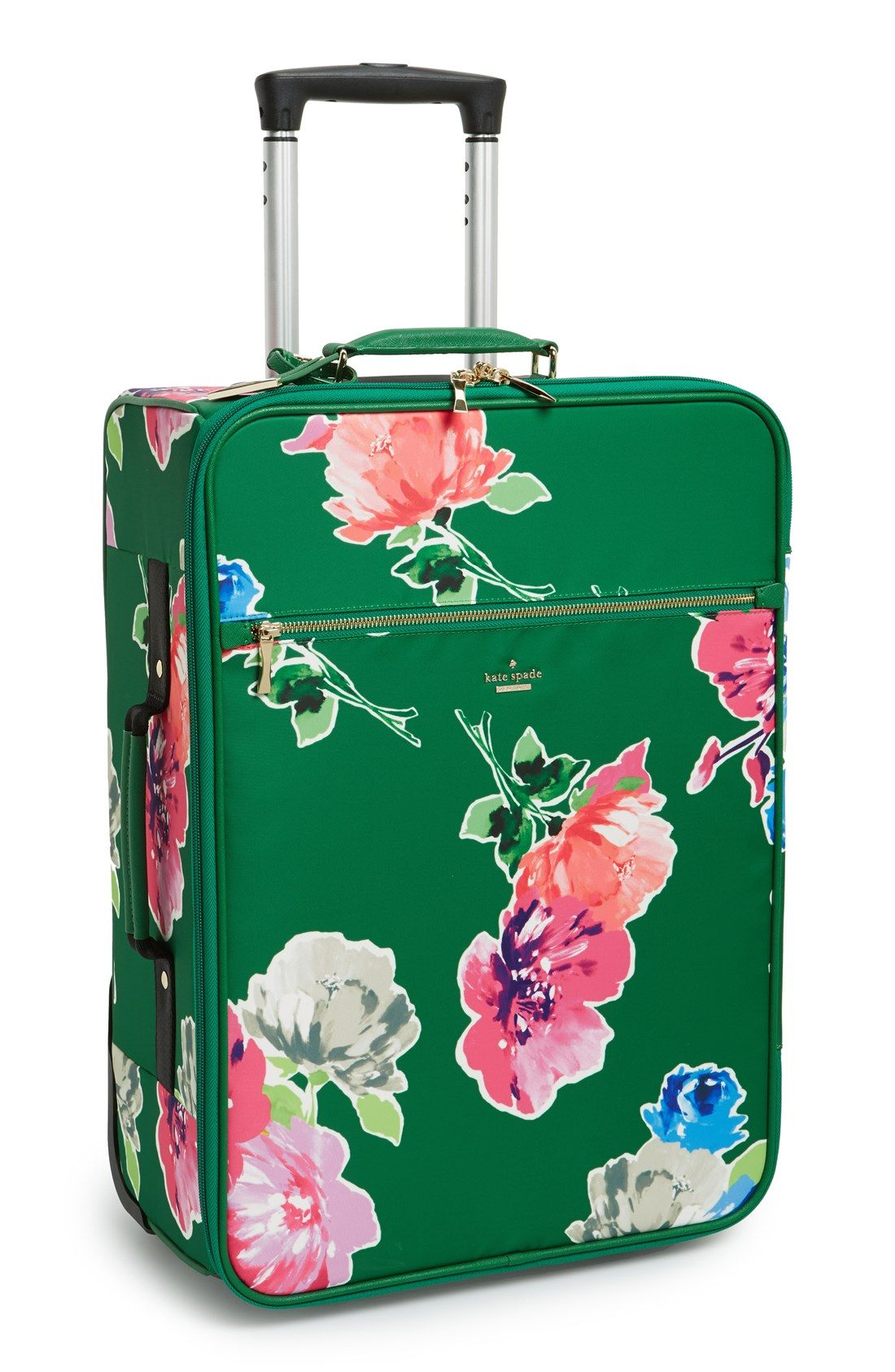 Ready to travel in style with this pretty green and floral ...
