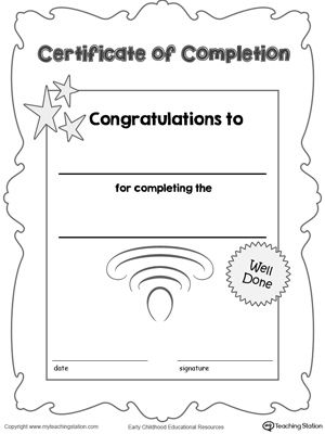 Certificate of Completion Award Free certificates, Printable - printable certificates of completion