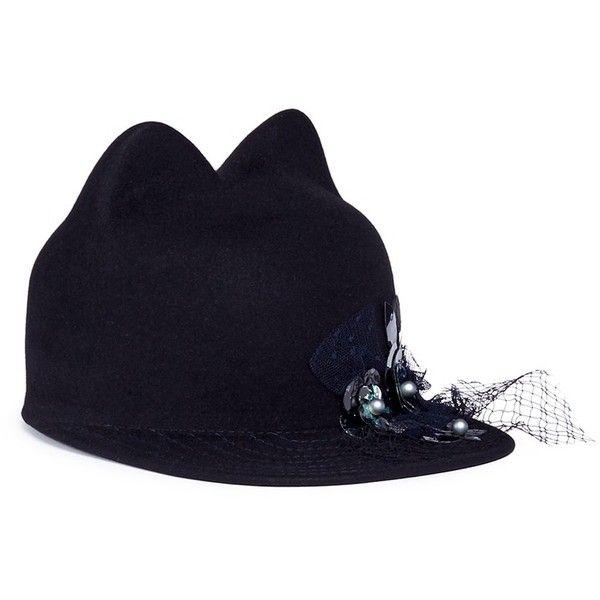 b9f740b11f8cde Maison Michel 'Jamie' embellished rabbit furfelt cat ear cap (1,245 CAD) ❤