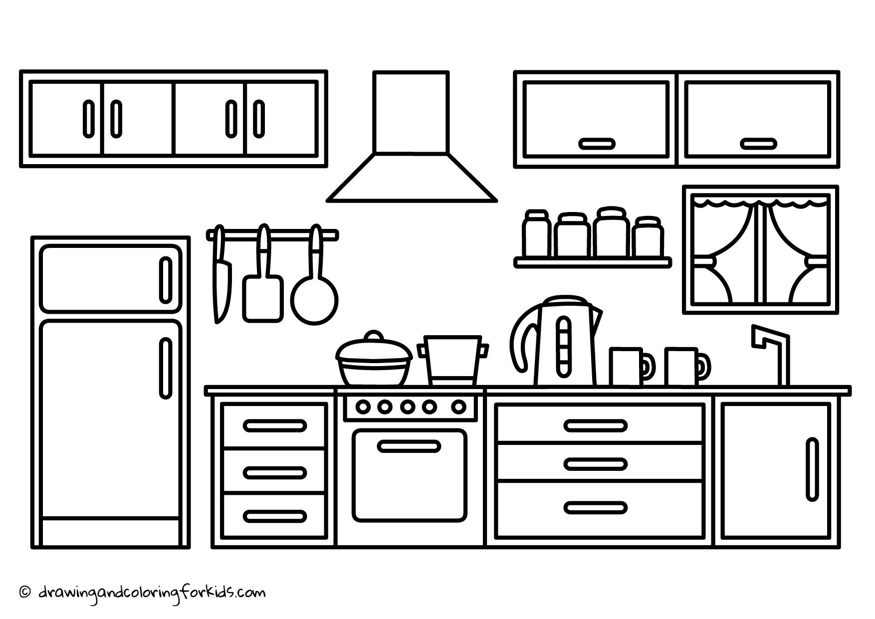 Coloring Page Kitchen Drawing Kitchen Cabinets Kitchen Coloring Page Coloring Pages Frog Coloring Pages Doodle Art For Beginners