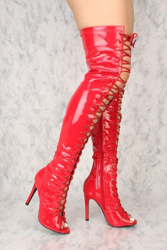 8c63842c3e71 Sexy Red Lace Up Open Toe Thigh High Boots Patent