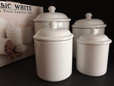 Basic White 4 Canister Set Lids Seals Box Kitchen Storage Over ...