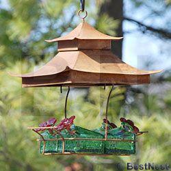 Parasol Basketweave Shelter Hummingbird Feeder, Green, 16 oz at BestNest.com | Humming bird ...