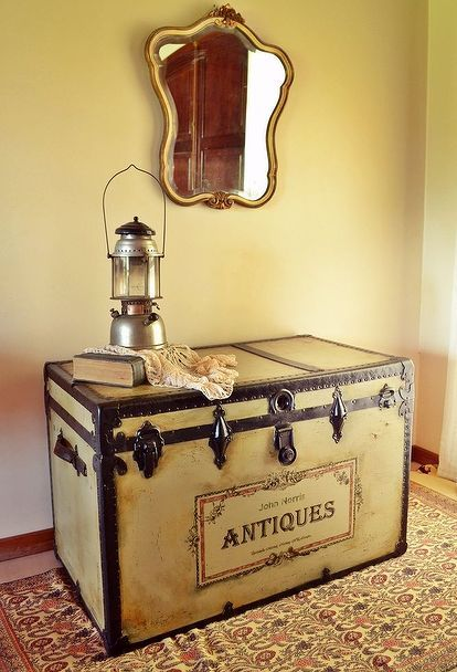 an antique trunk with history, painted furniture, repurposing upcycling